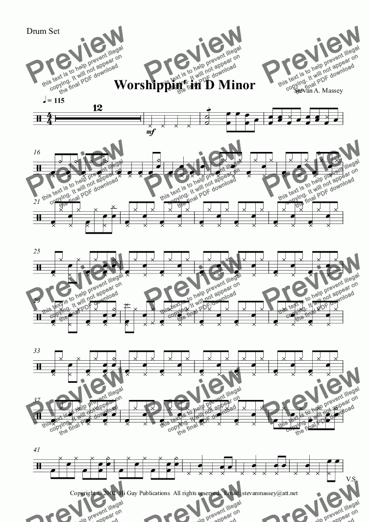 page one of the Drum Set part from Worshippin' in D Minor