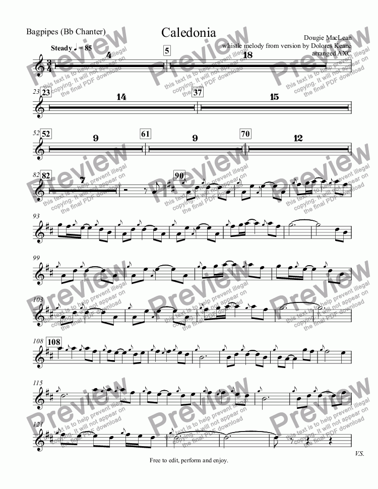 Bagpipes (Bb Chanter) part from Caledonia - Sheet Music PDF