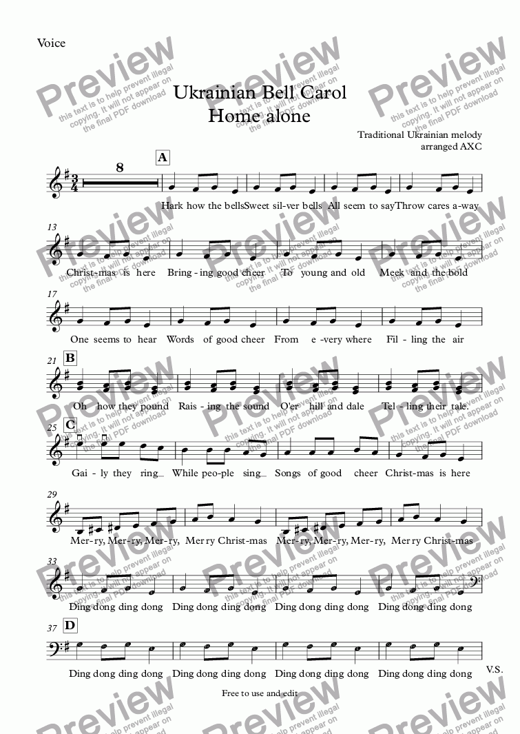 page one of the Voice part from Ukrainian Bell Carol Home alone