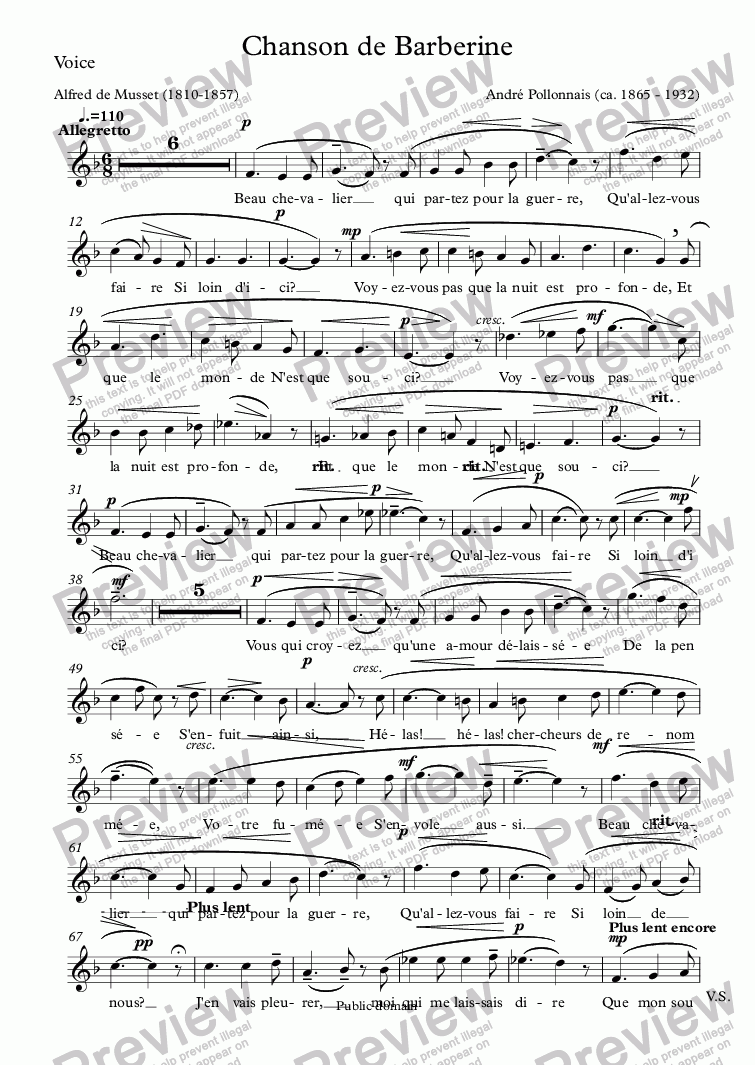 page one of the Voice part from Chanson de Barberine (André Pollonnais / Musset)