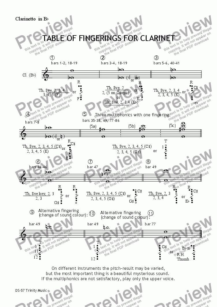 page one of the Clarinet part from TRINITY MUSIC op57. Cl, vln, pf