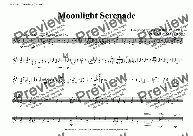 page one of the Part 5:Bb Contrabass Clarinet part from Moonlight Serenade (Glen Miller) for Clarinet Choir