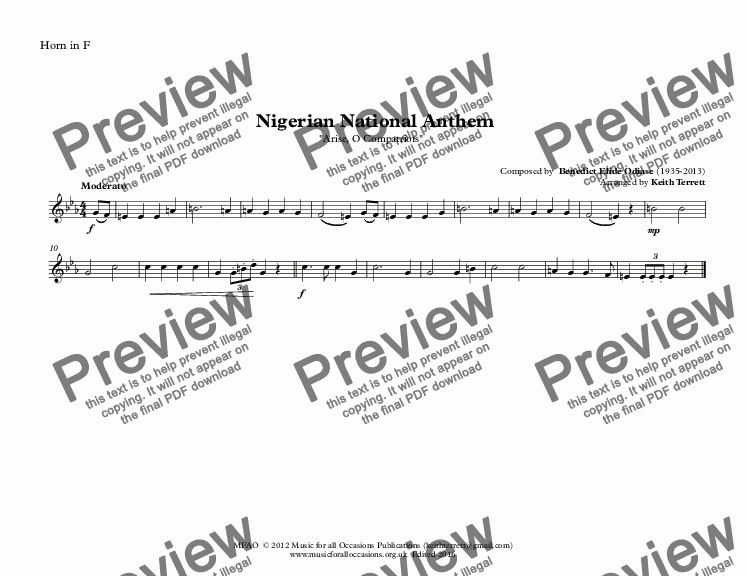 page one of the Horn in F part from Nigerian National Anthem for Brass Quintet (MFAO World National Anthem Series)