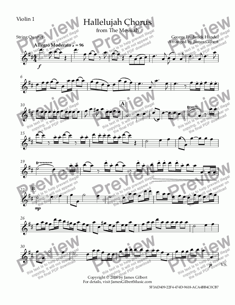 page one of the Violin 1 part from Hallelujah Chorus
