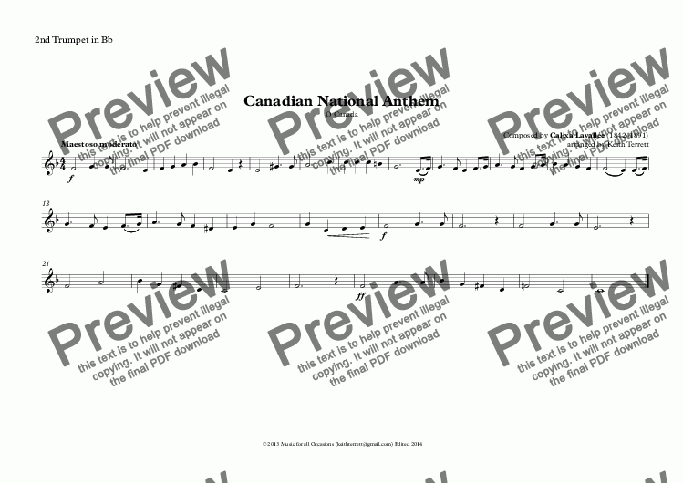 page one of the 2nd Trumpet in Bb part from Canadian National Anthem (O Canada), for Brass Quintet (World National Anthem Series)