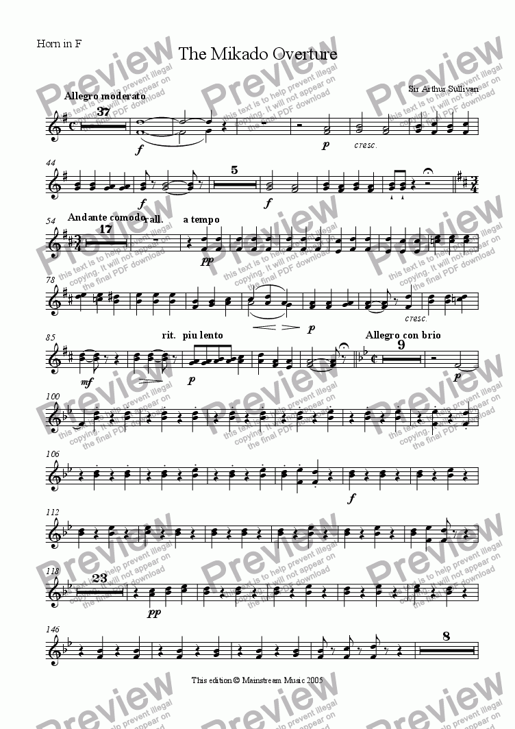 page one of the Horn in F part from The Mikado Overture