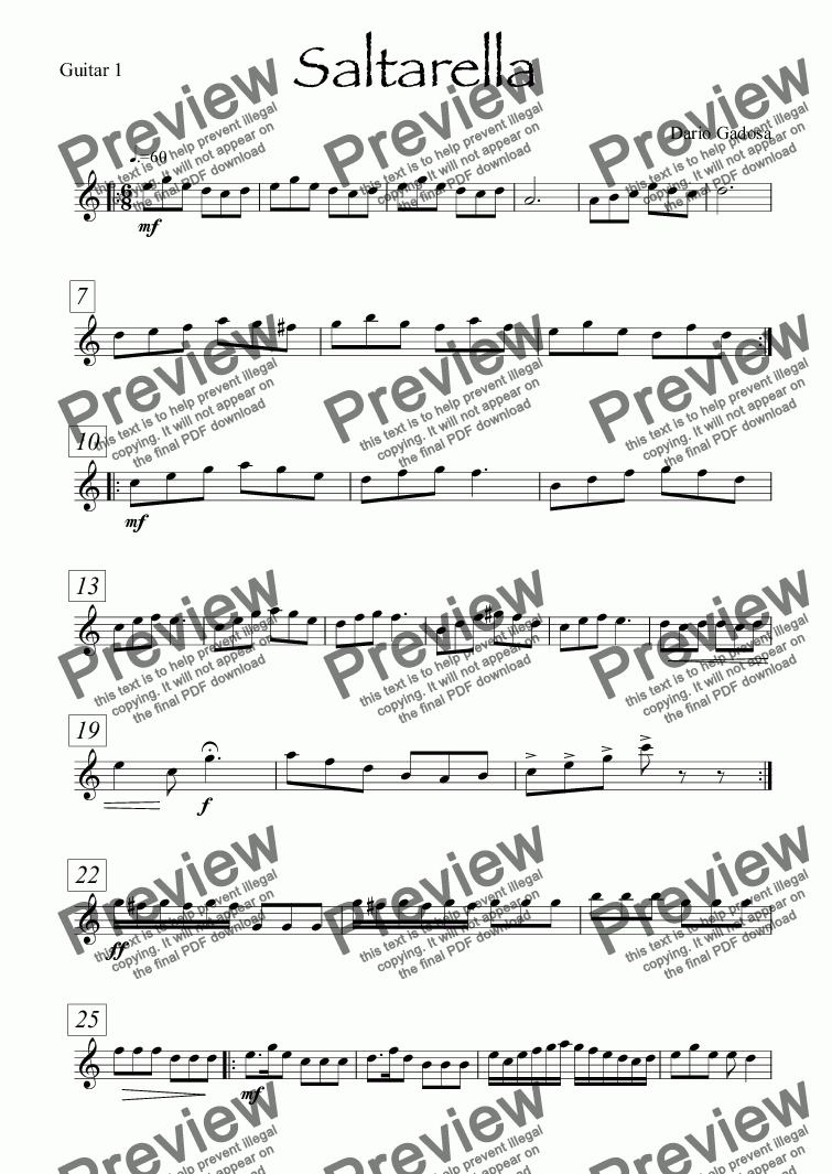 page one of the Guitar 1 part from Saltarella
