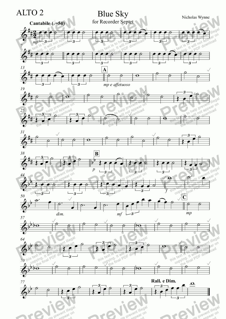 page one of the Alto Recorder 2 part from Blue Sky for Recorder Septet