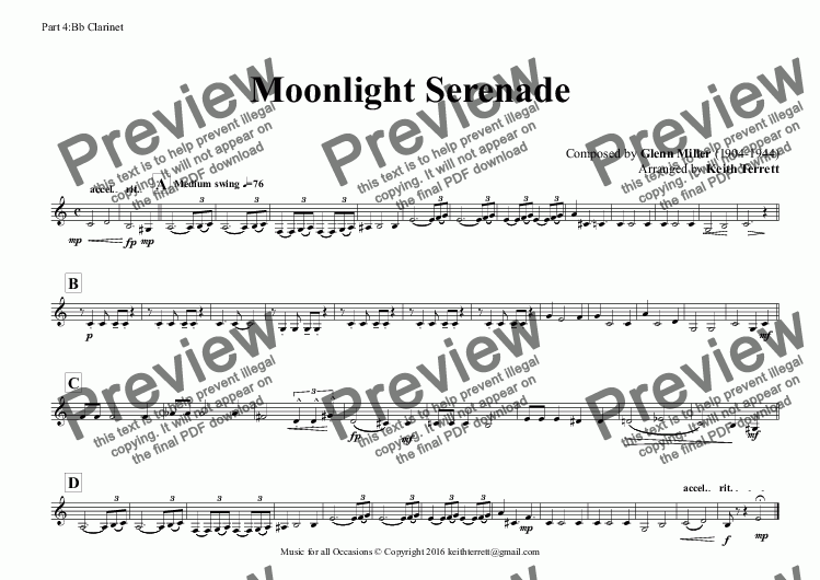 page one of the Part 4:Bb Clarinet part from Moonlight Serenade (Glen Miller) for Wind Quintet