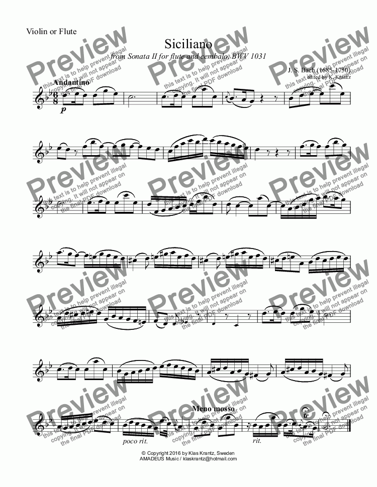 page one of the Violin or Flute part from Siciliano BWV 1031 for piano trio
