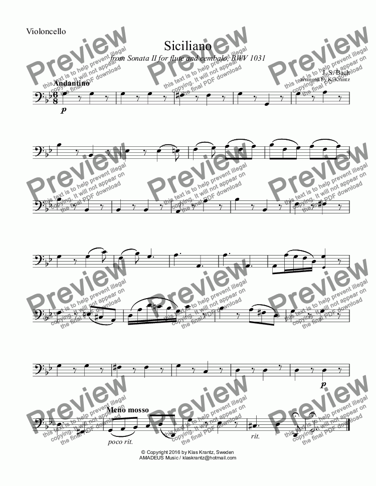 page one of the Violoncello part from Siciliano BWV 1031 for piano trio