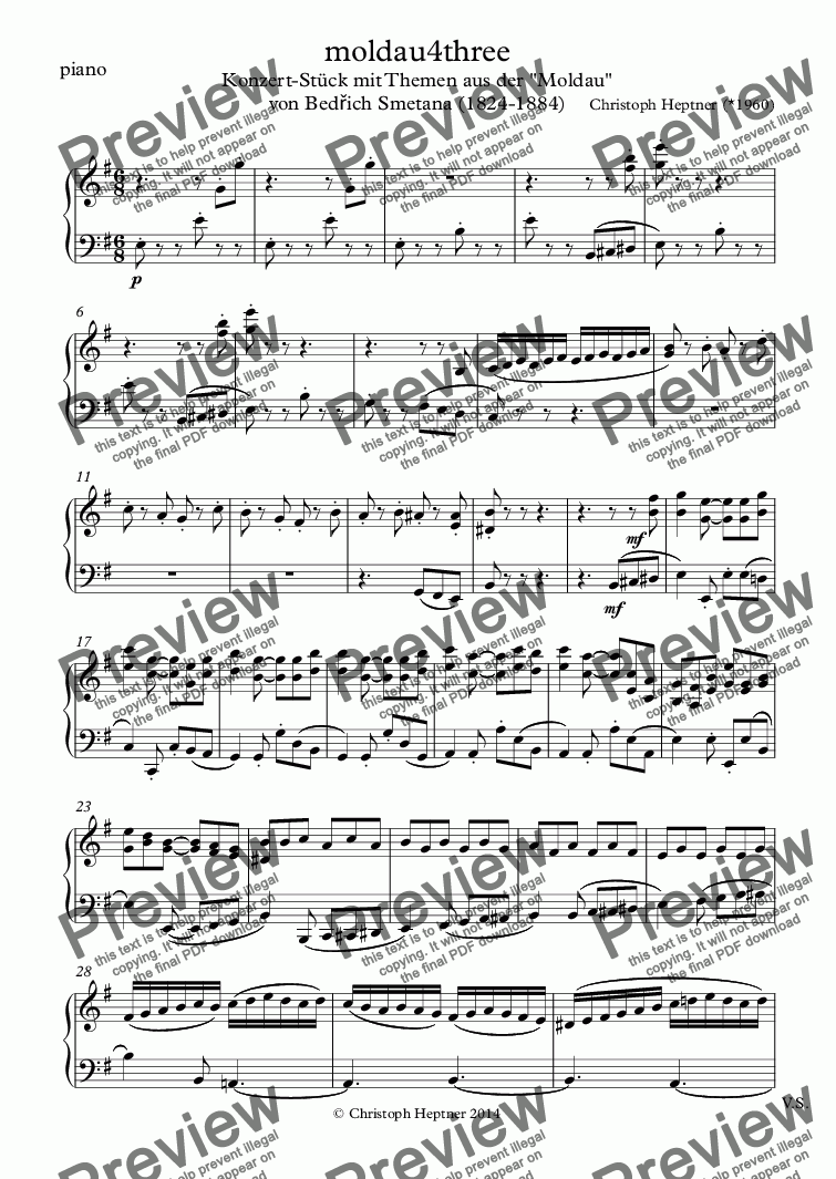 page one of the piano part from moldau4three