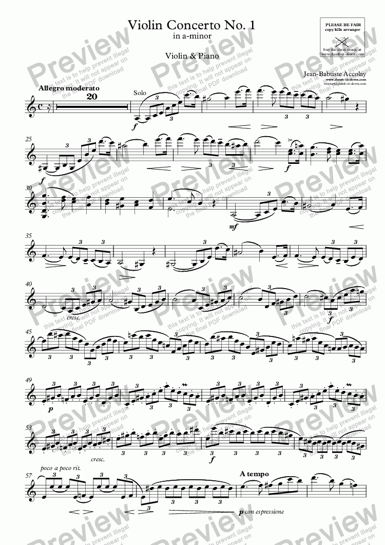 page one of the Violin part from Accolay, J.B. - Violin Concerto No.1 in a-minor - for Violin (orig.) & Piano (simplified)