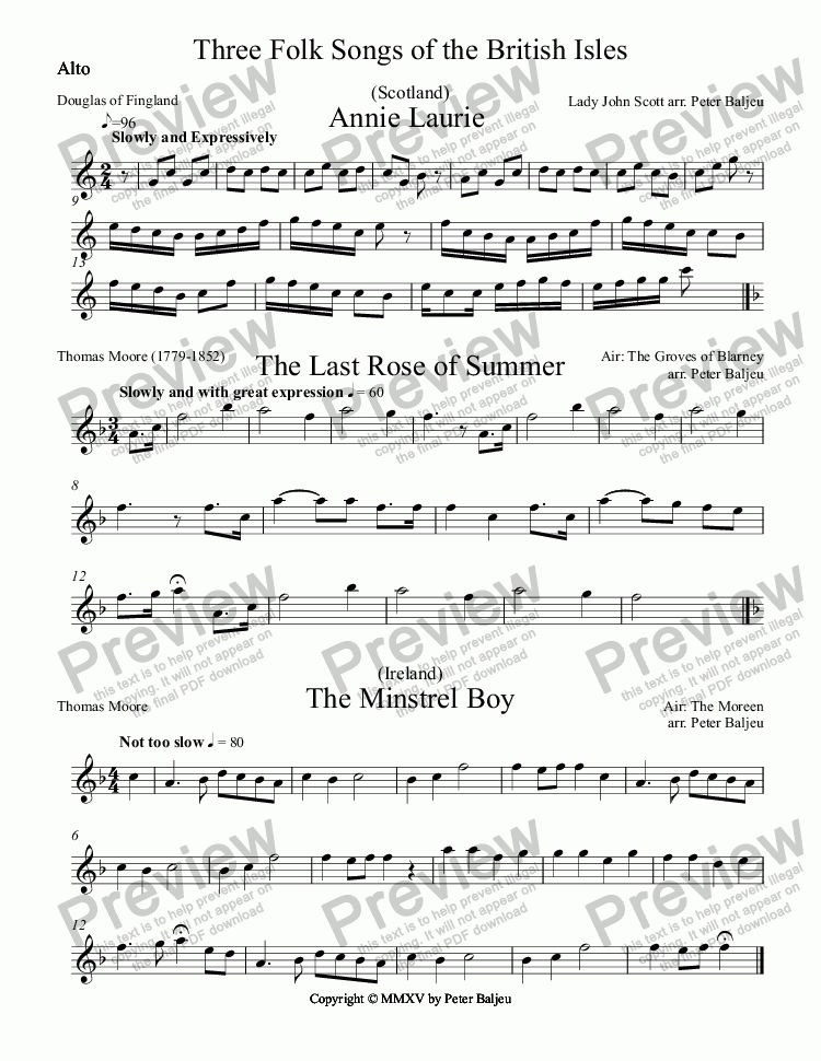 page one of the Alto part from Three Folk Songs of the British Isles  for Recorder Ensemble