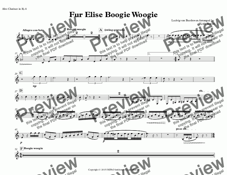 page one of the Alto Clarinet in E^b 4 part from Für Elise Boogie Woogie for Clarinet Quintet (Jazz for 5 Wind Series)
