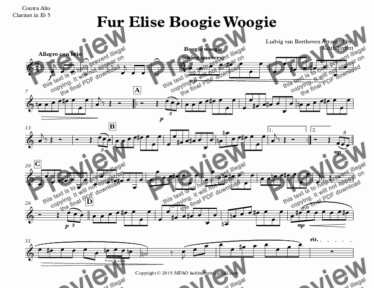 page one of the Contra Alto Clarinet in E^b 5 part from Für Elise Boogie Woogie for Clarinet Quintet (Jazz for 5 Wind Series)