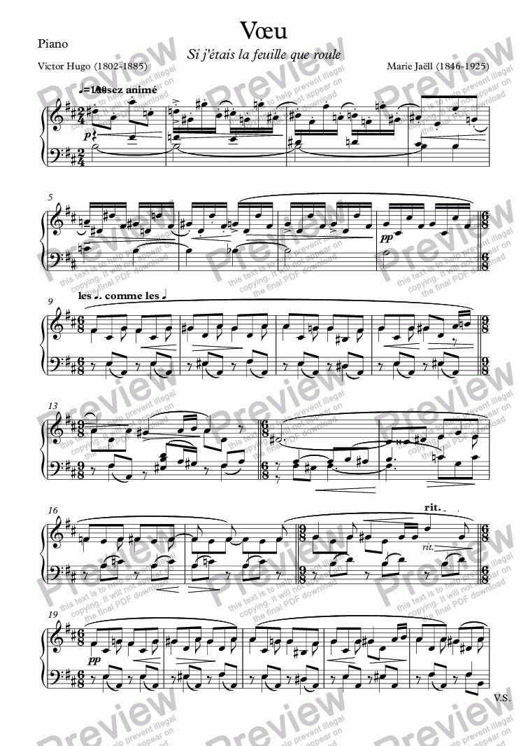 page one of the Piano part from Vœu (Marie Jaëll - Victor Hugo)