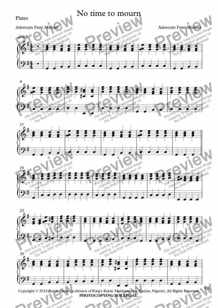 page one of the Piano part from No time to mourn