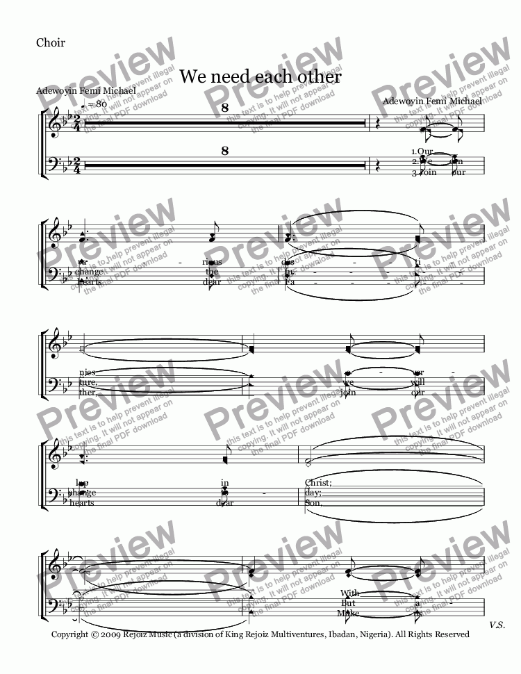 page one of the Choir part from We need each other