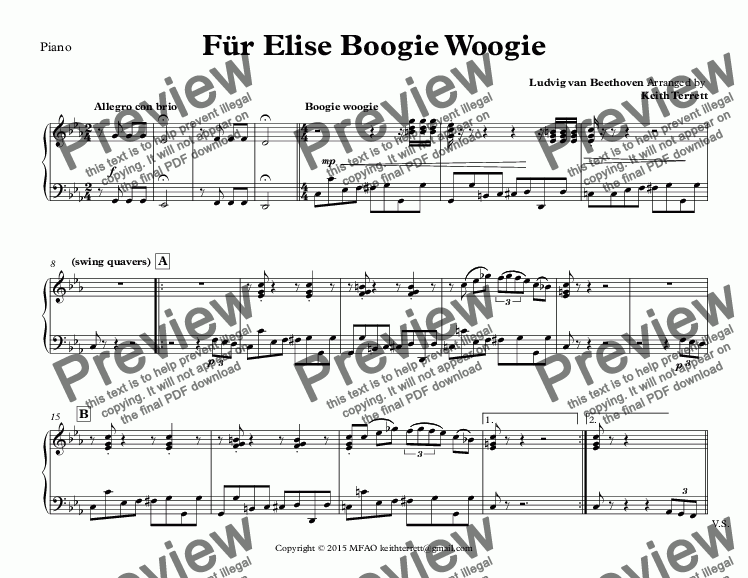 page one of the Piano part from Für Elise Boogie Woogie for Bb Soprano Saxophone & Piano (Keith Terrett Jazz for Wind Series)