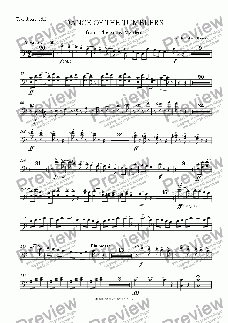 page one of the Trombone 1&2 part from Dance of the Tumblers from 'The Snow Maiden'