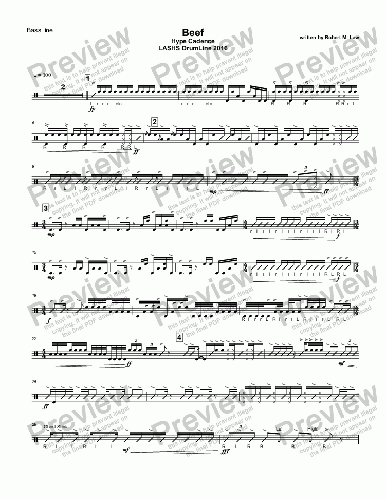 page one of the BassLine~Manual part from Beef