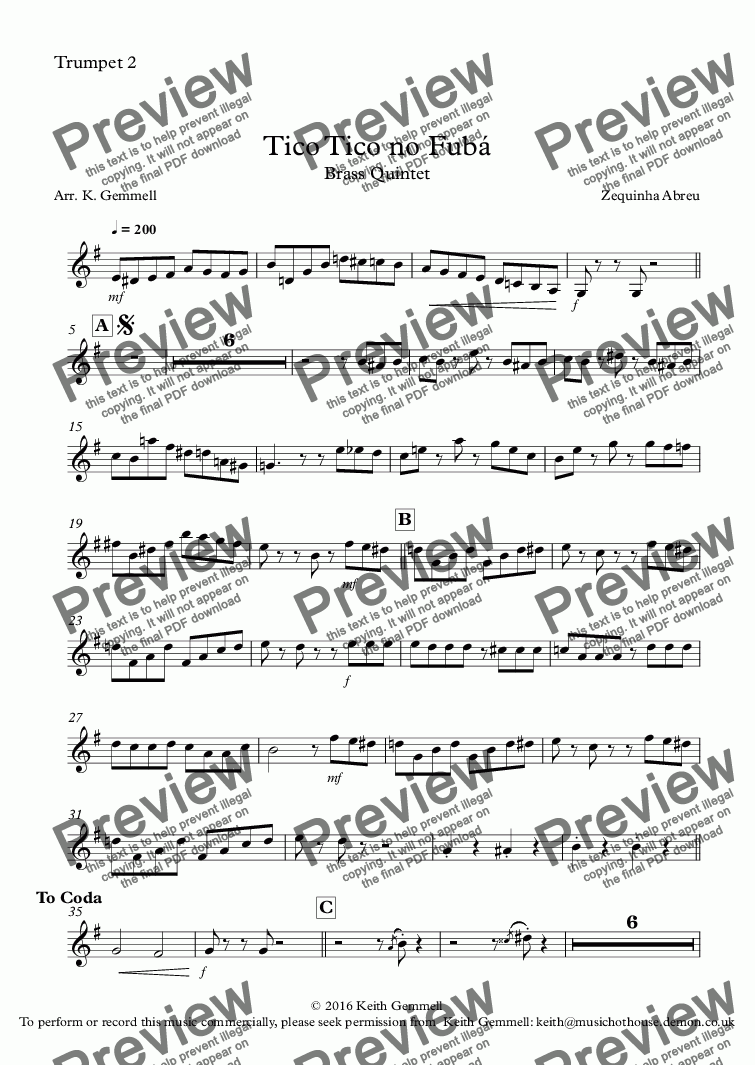 page one of the Trumpet 2 part from Tico Tico no Fubá: Brass Quintet