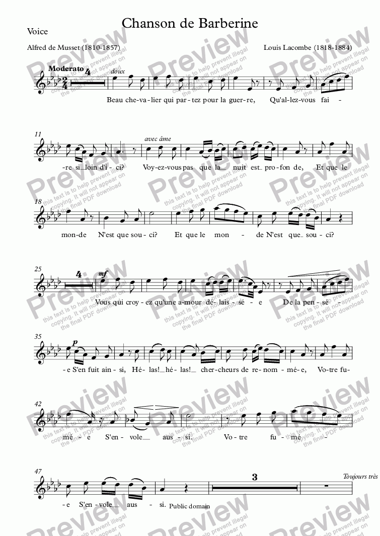 page one of the Voice part from Chanson de Barberine (Louis Lacombe / Musset)