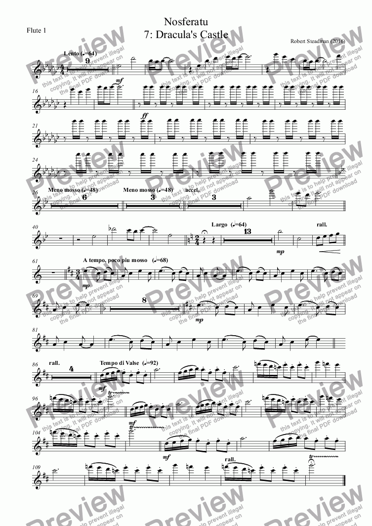page one of the Flute 1 part from Nosferatu: 7 - Dracula's Castle