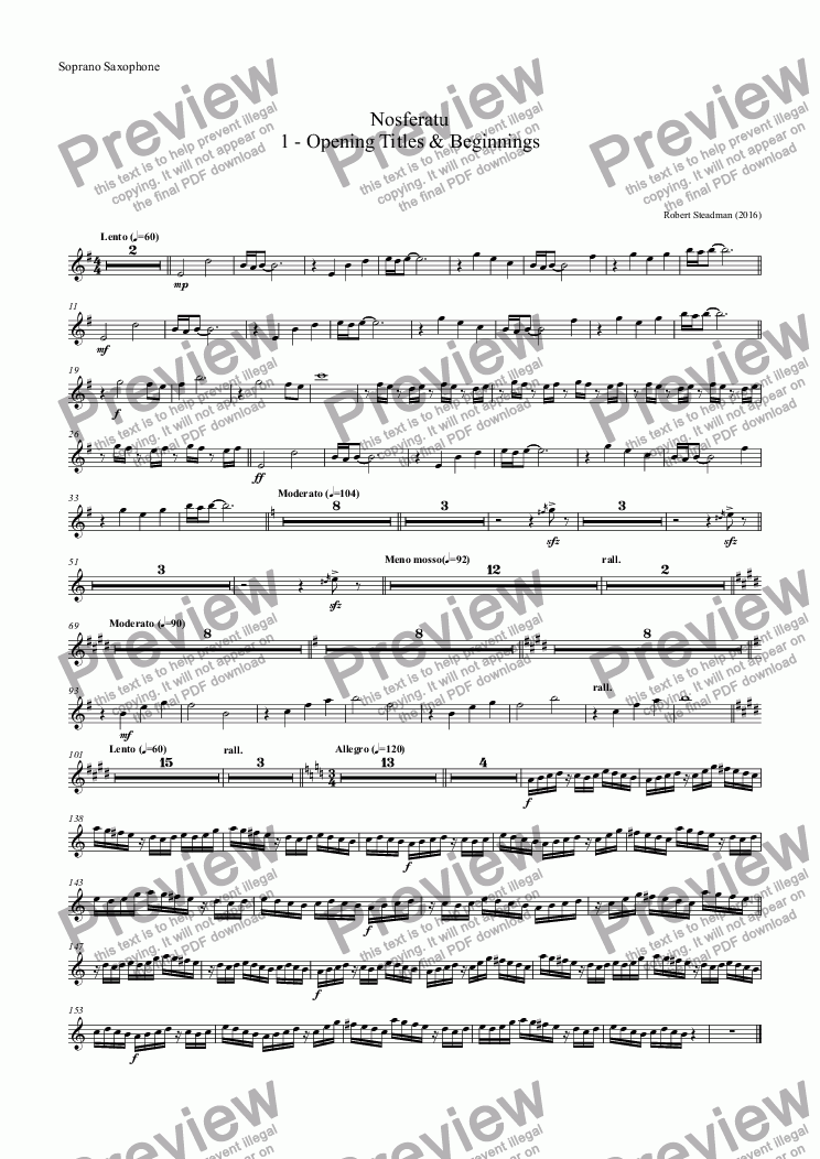 page one of the Soprano Saxophone part from Nosferatu: 1 - Opening Titles & Beginnings
