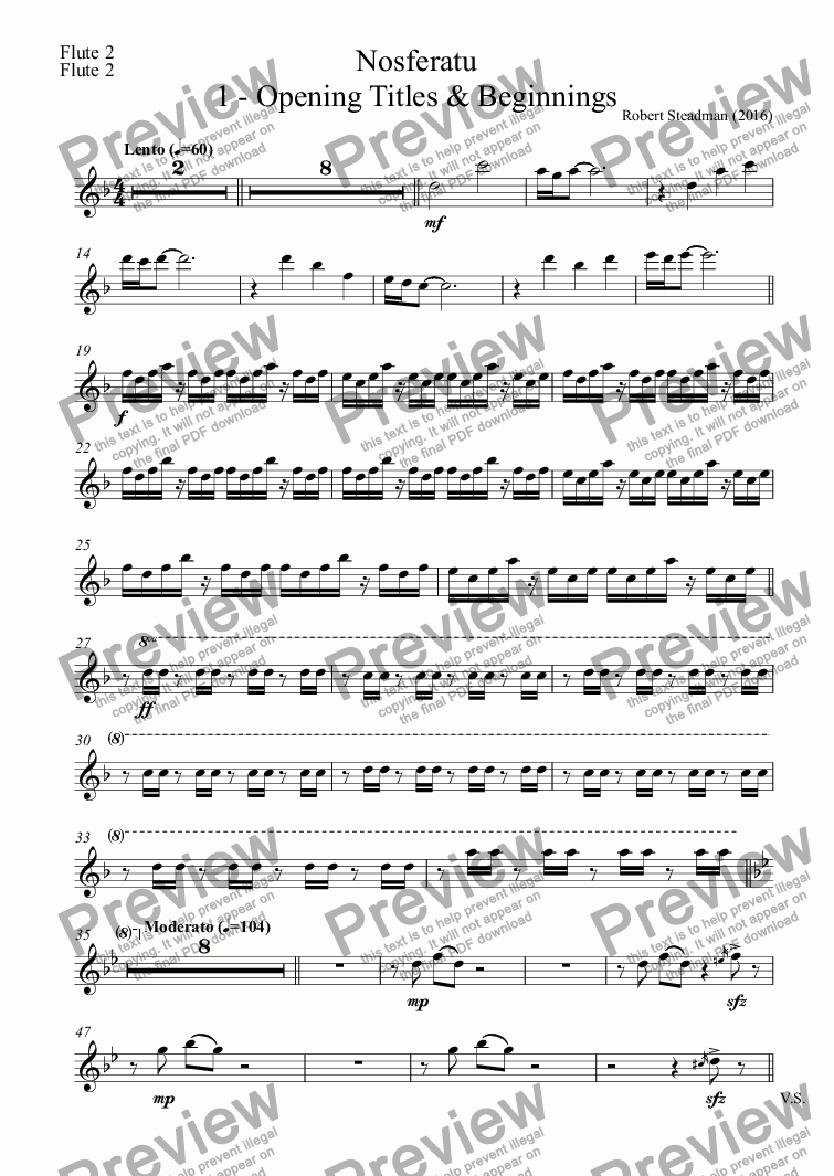 page one of the Flute 2 part from Nosferatu: 1 - Opening Titles & Beginnings