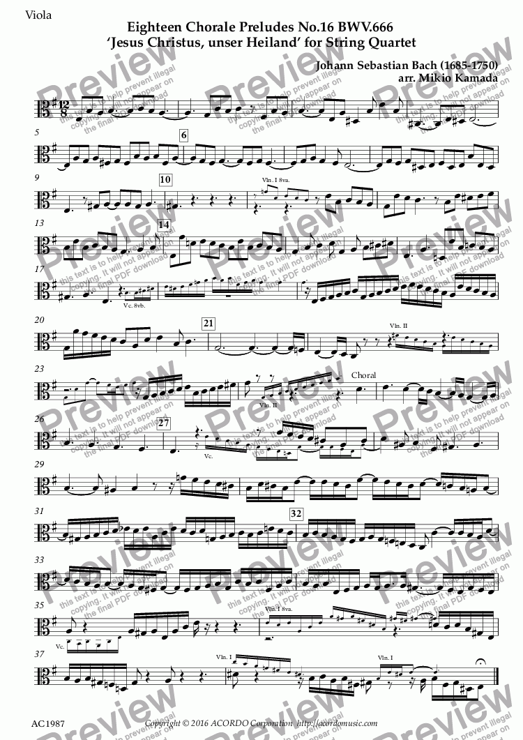 page one of the Viola part from Eighteen Chorale Preludes No.16 BWV.666 'Jesus Christus, unser Heiland' for String Quartet