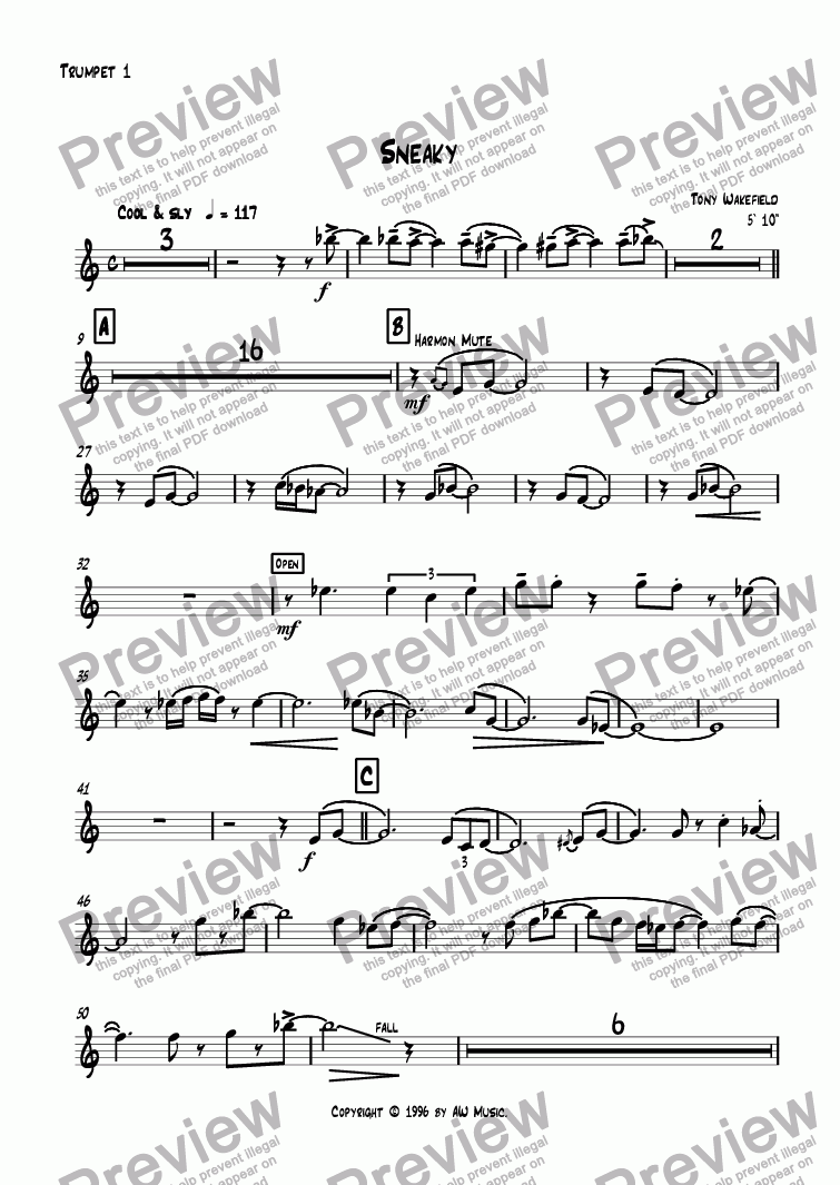 page one of the Trumpet 1 part from Sneaky