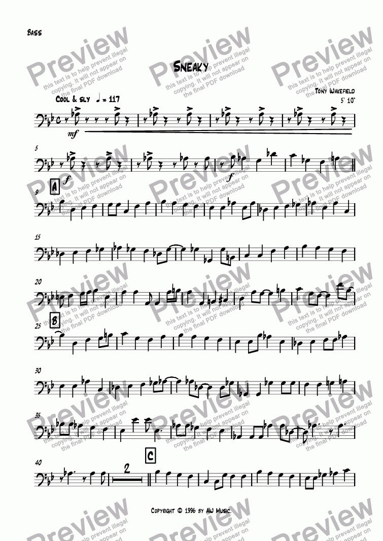 page one of the Bass Guitar part from Sneaky
