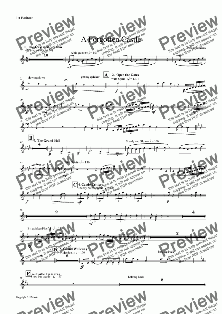 page one of the 1st Baritone part from A Forgotten Castle