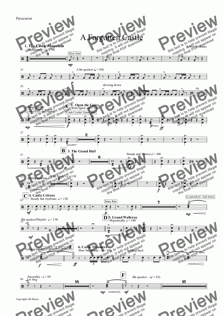 page one of the Percussion part from A Forgotten Castle