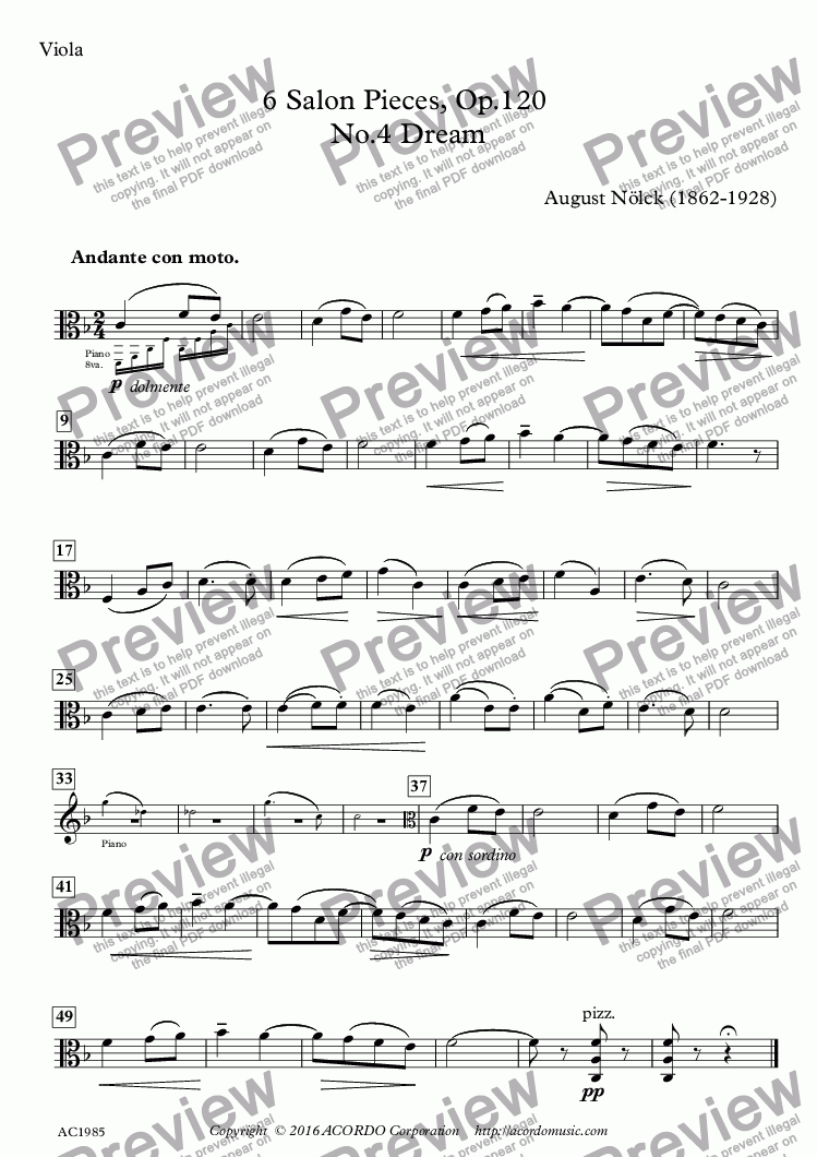 page one of the Viola part from 6 Salon Pieces, Op.120, No.4 'Dream' for Viola & Piano