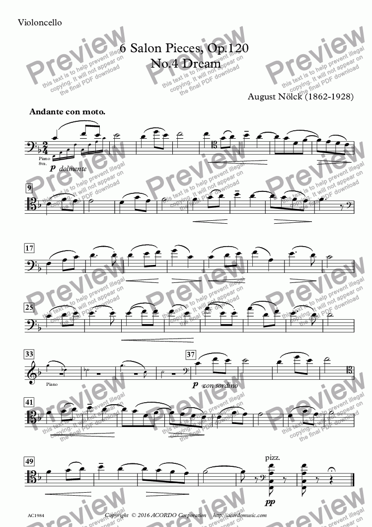 page one of the Violoncello part from 6 Salon Pieces, Op.120, No.4 'Dream'