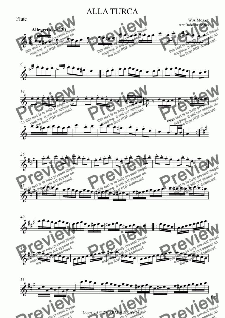 page one of the Flute part from ALLA TURCA