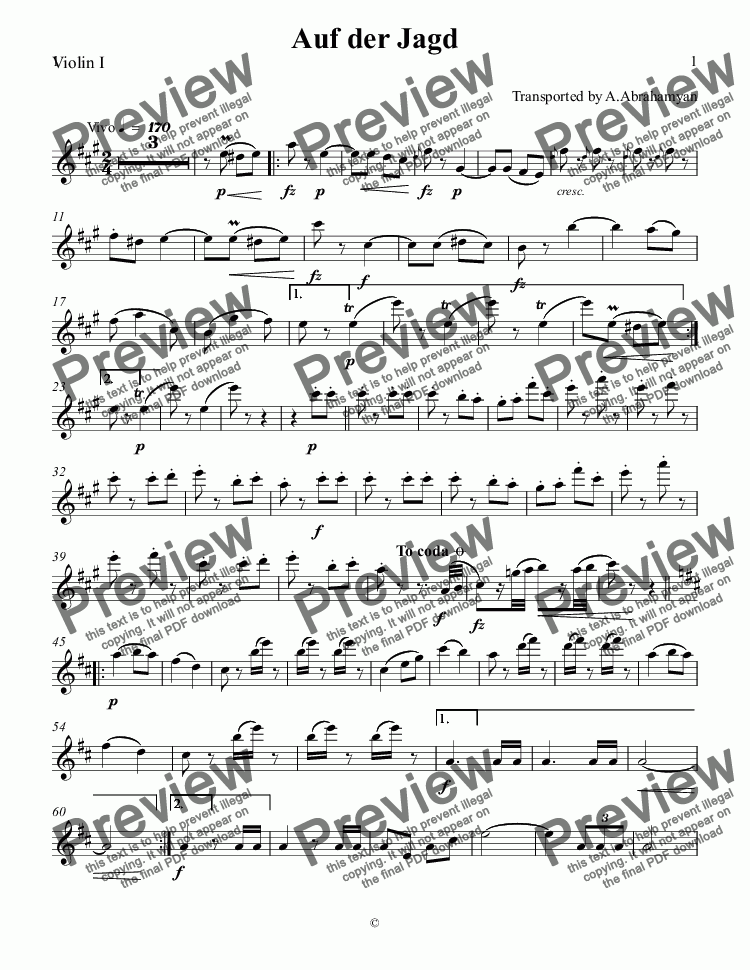 page one of the Violin I part from J.Strauss Auf der Jagd
