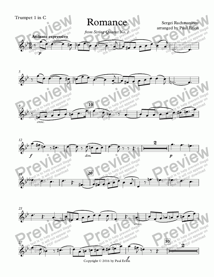 page one of the Trumpet 1 in C part from Romance