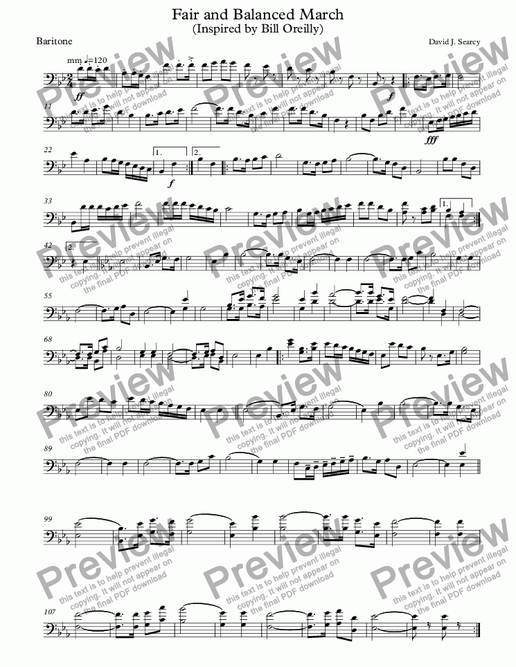 page one of the Baritone part from Fair and Balanced March