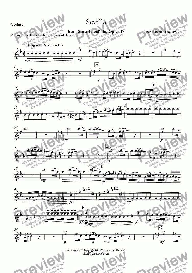 page one of the Violin I part from Sevilla