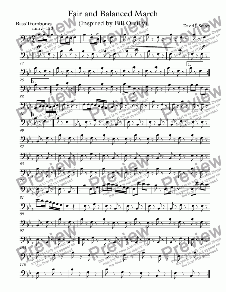 page one of the Bass Trombone part from Fair and Balanced March