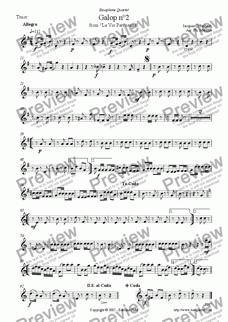 page one of the Tenor saxophone part from Offenbach - Galop n�2 - Can Can (Sax Quartet)