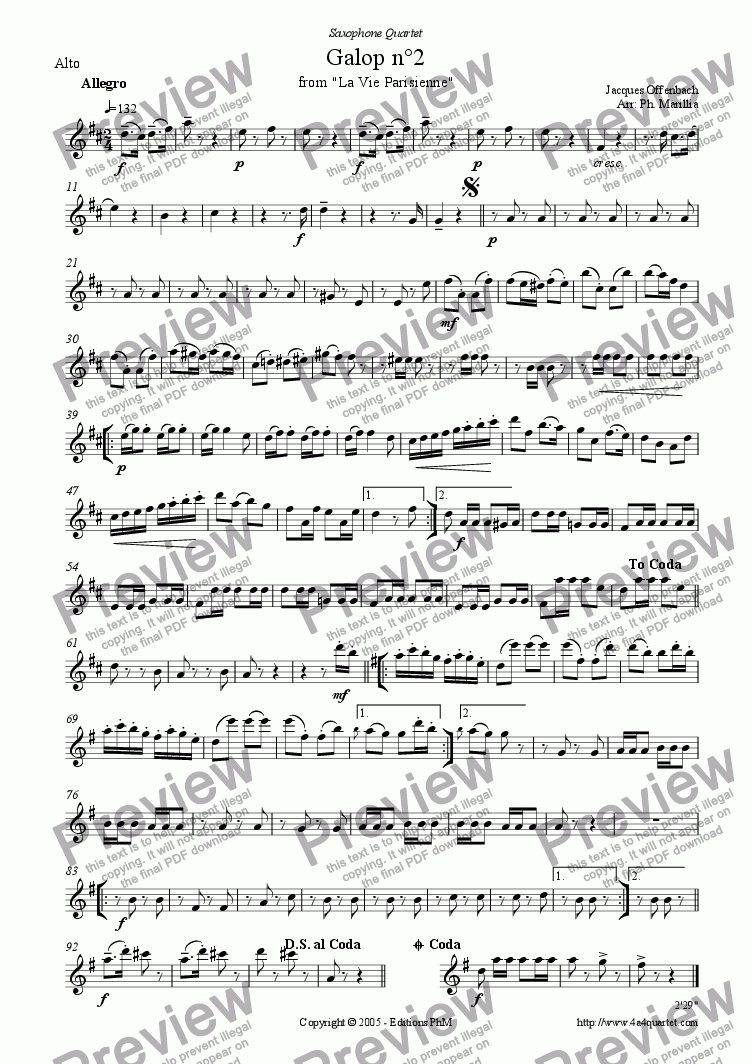 page one of the Alto Sax part from Offenbach - Galop n�2 - Can Can (Sax Quartet)