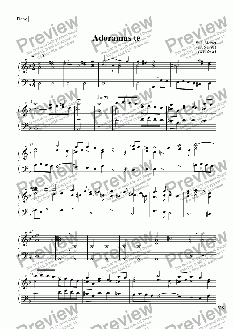page one of the Piano part from Adoramus te (Mozart)