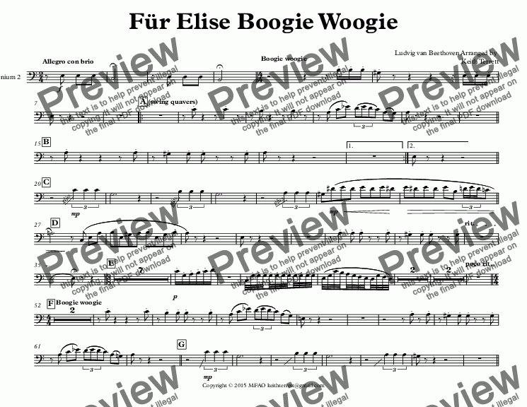 page one of the Euphonium 2 part from Für Elise Boogie Woogie for Tuba Quintet (Keith Terrett Jazz for 5 Brass Series)