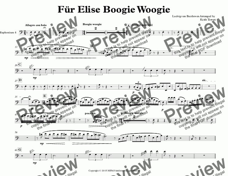 page one of the Euphonium 4 part from Für Elise Boogie Woogie for Tuba Quintet (Keith Terrett Jazz for 5 Brass Series)