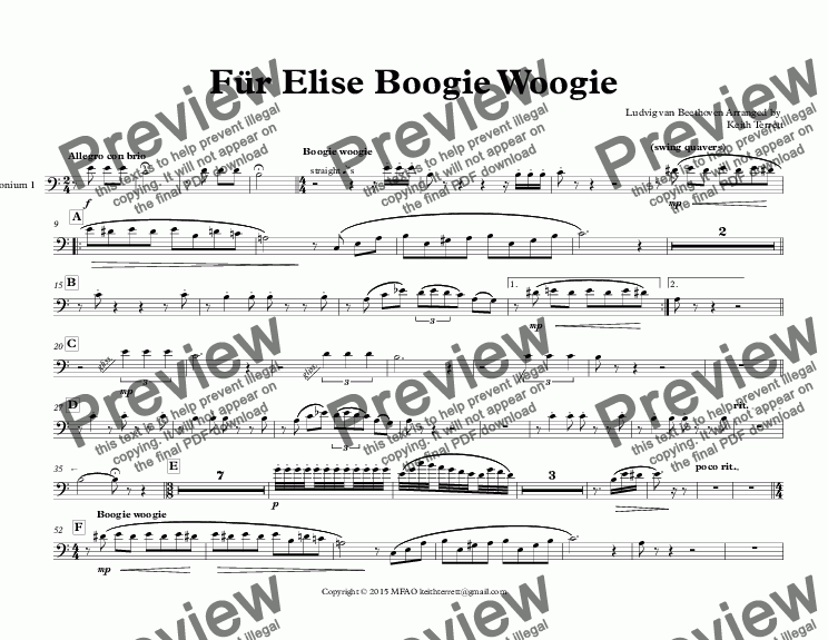 page one of the Euphonium 1 part from Für Elise Boogie Woogie for Tuba Quintet (Keith Terrett Jazz for 5 Brass Series)